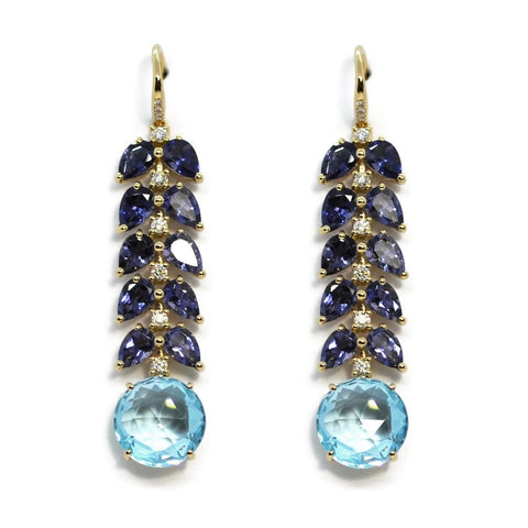 A & Furst - Lilies - Drop Earrings with Iolite, Blue Topaz and Diamonds, 18k Yellow Gold