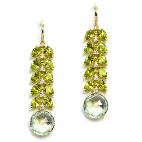 A & Furst - Lilies - Drop Earrings with Peridot, Prasiolite and Diamonds, 18k Yellow Gold