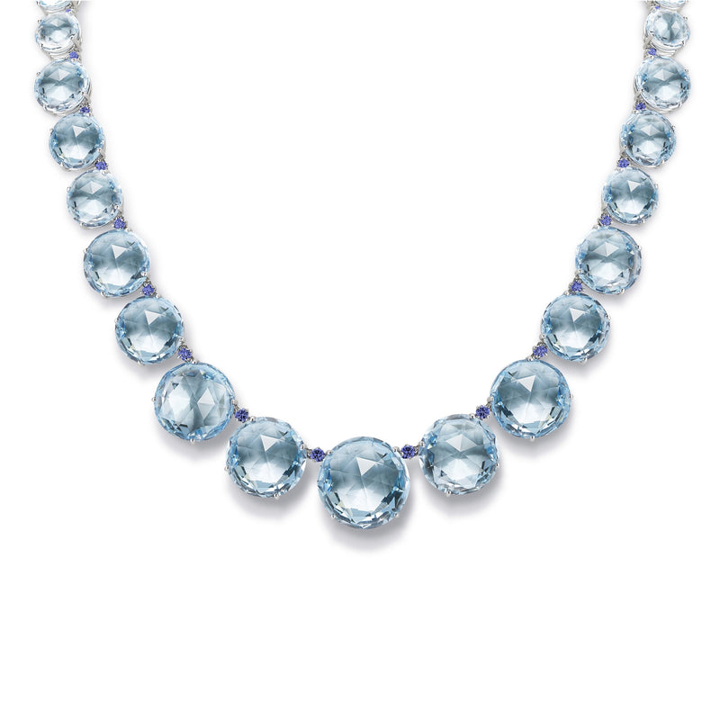 A & Furst - Lilies - Graduated Necklace with Blue Topaz and Sapphires, 18k White Gold