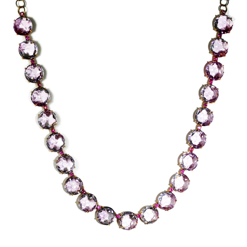 A & Furst - Lilies - Necklace with Rose de France and Pink Sapphires, 18k Rose Gold