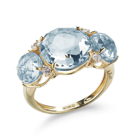 "A & Furst ""Lilies"" Trilogy Ring with Blue Topaz and Diamonds, 18k Yellow Gold"