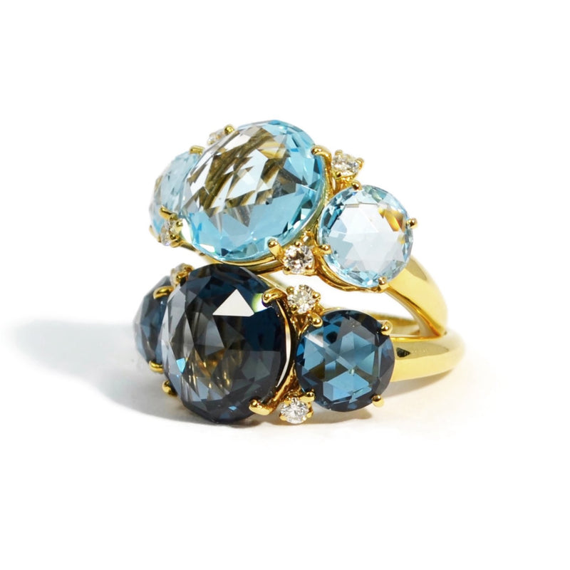 A & Furst - Lilies - Three Stone Ring with London Blue Topaz and Diamonds, 18k Yellow Gold