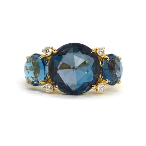 A & Furst - Lilies - Trilogy Ring with London Blue Topaz and Diamonds, 18k Yellow Gold