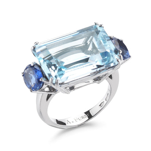 A & Furst - Party - Cocktail Ring with Blue Topaz and Blue Sapphires, 18k White Gold