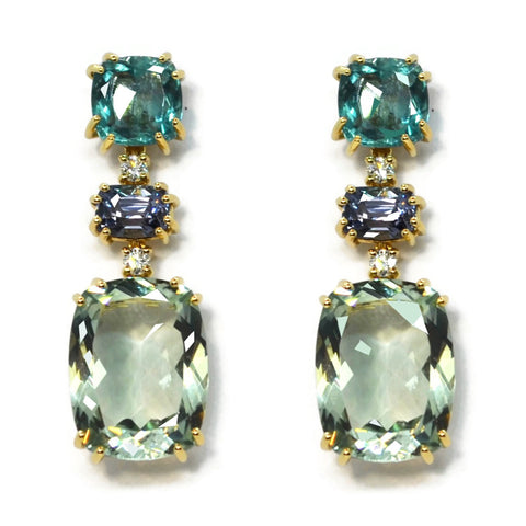 A & Furst - Party - Drop Earrings with Apatite, Blue Spinel, Prasiolite and Diamonds, 18k Yellow Gold