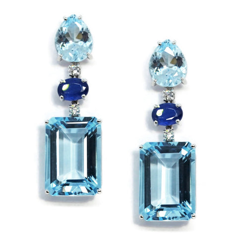 A & Furst - Party - Drop Earrings with Blue Topaz, Kyanite and Diamonds, 18k White Gold