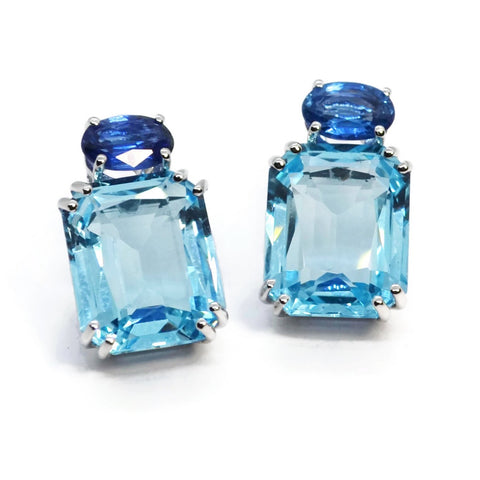A & Furst - Party - Drop Earrings with Blue Topaz and Kyanite, 18k White Gold