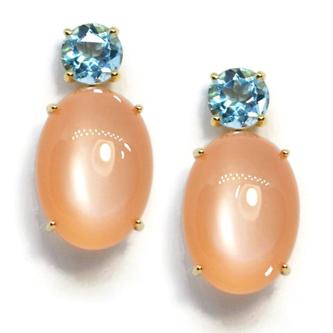 A & Furst - Party - Drop Earrings with Blue Topaz and Peach Moonstone, 18k Yellow Gold
