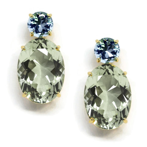 A & Furst - Party - Drop Earrings with Blue Topaz and Prasiolite, 18k Yellow Gold
