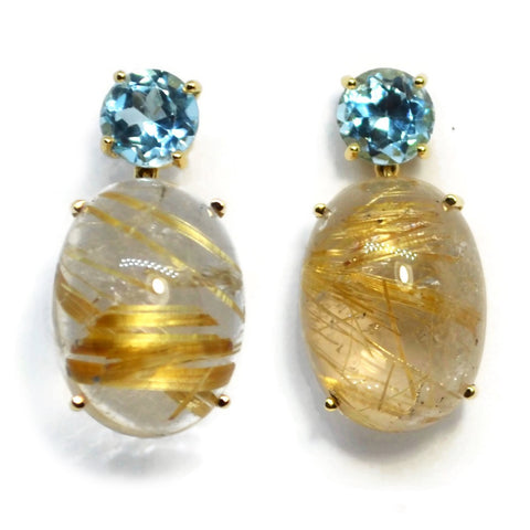 A & Furst - Party - Drop Earrings with Blue Topaz and Rutilated Quartz, 18k Yellow Gold