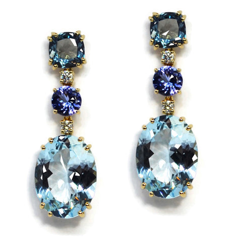 A & Furst - Party - Drop Earrings with London Blue Topaz, Tanzanite, Blue Topaz and Diamonds, 18k Yellow Gold