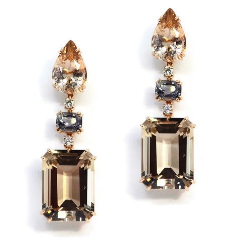 A & Furst - Party - Drop Earrings with Champagne Citrine, Grey Spinel and Diamonds, 18k Rose Gold