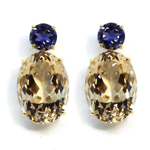 A & Furst - Party - Drop Earrings with Champagne Citrine and Iolite, 18k Yellow Gold