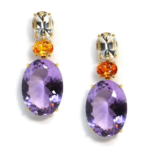 A & Furst - Party - Drop Earrings with Citrine, Mandarin Garnet and Amethyst, 18k Yellow Gold