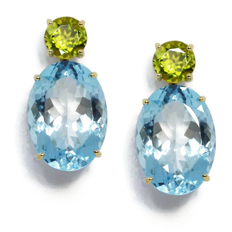 A & Furst - Party - Drop Earrings with Peridot and Blue Topaz, 18k Yellow Gold