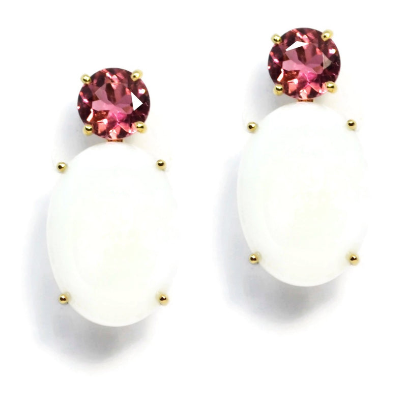 A-FURST-PARTY-DROP-EARRINGS-PINK-TOURMALINE-WHITE-AGATE-YELLOW-GOLD-O1550GTRKO