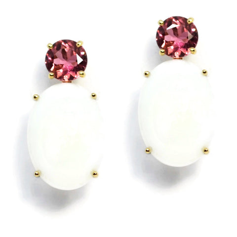 A & Furst - Party - Drop Earrings with Pink Tourmaline and White Agate, 18k Yellow Gold