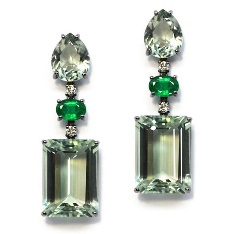 A & Furst - Party - Drop Earrings with Prasiolite, Emeralds and Diamonds, 18k Blackened White Gold