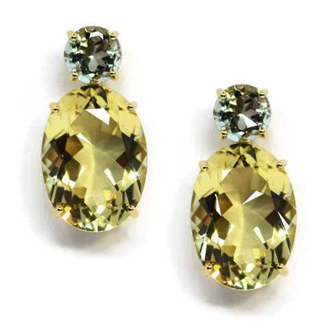 A & Furst - Party - Drop Earrings with Prasiolite and Lemon Citrine, 18k Yellow Gold