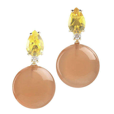 "A & Furst ""Bonbon"" Earrings with Citrine, Peach Moonstone and Diamonds, 18k Yellow Gold."