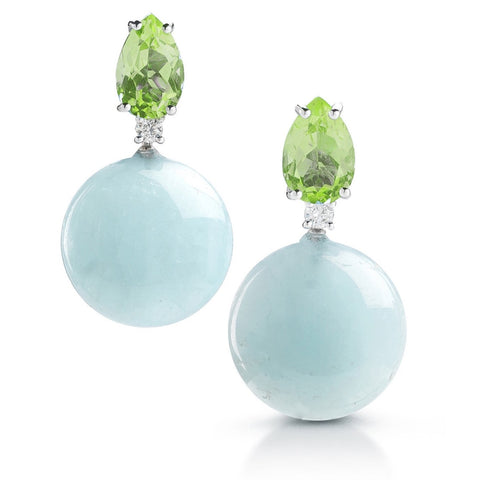 "A & Furst ""Bonbon"" Earrings with Peridot, Milky Aquamarine and Diamonds, 18k Yellow Gold."