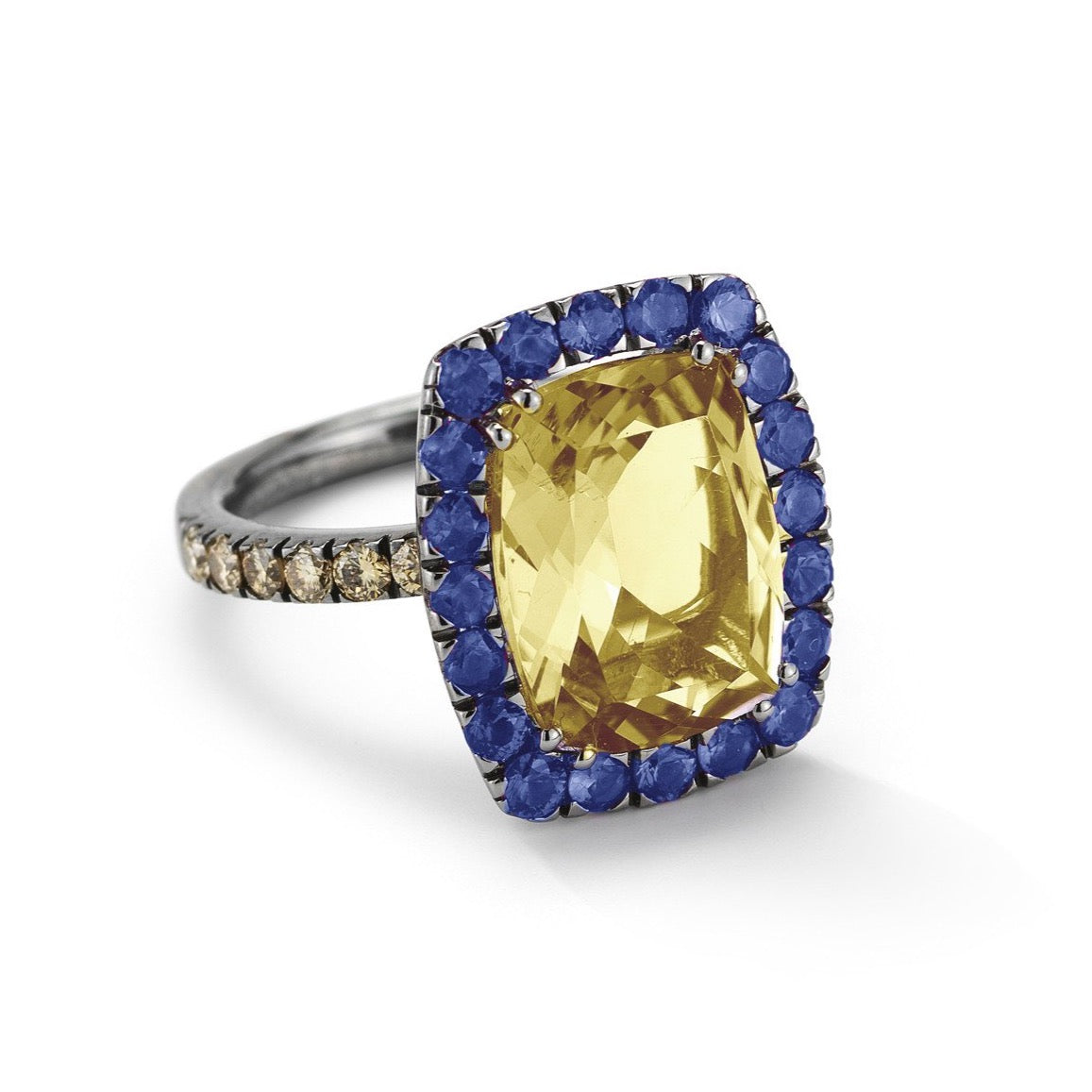 "A & Furst ""Dynamite"" Cocktail Ring with Citrine, Sapphires and Brown Diamonds, 18k Blackened Gold."