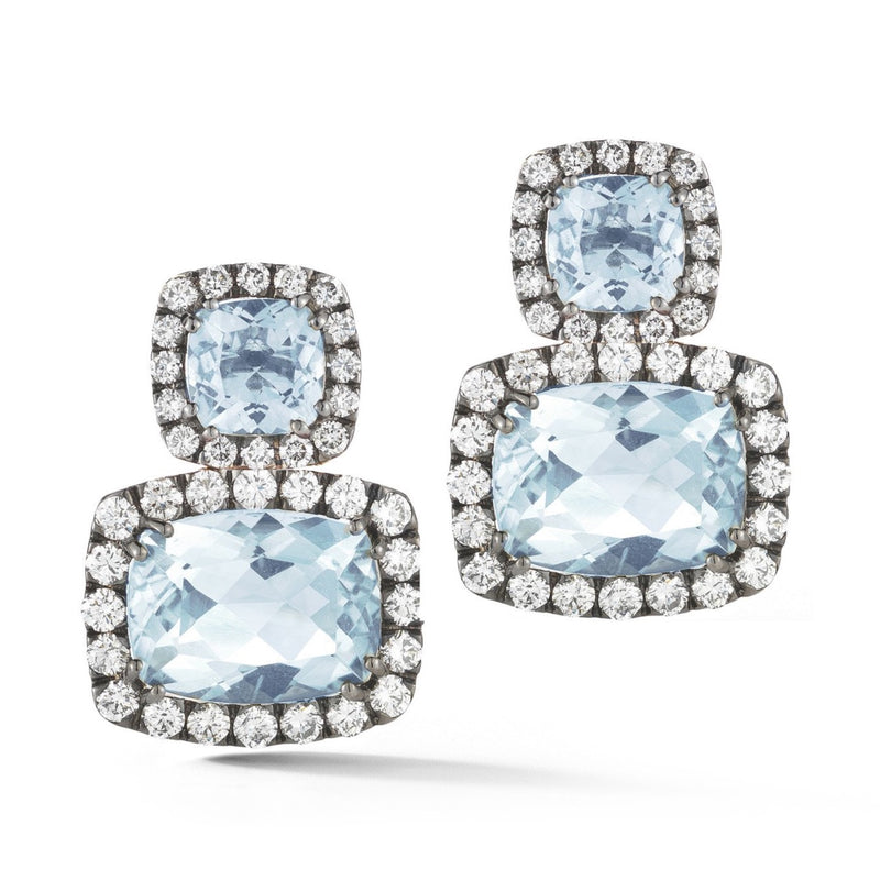 A & Furst - Dynamite - Drop Earrings with Blue Topaz and Diamonds, 18k Blackened Gold