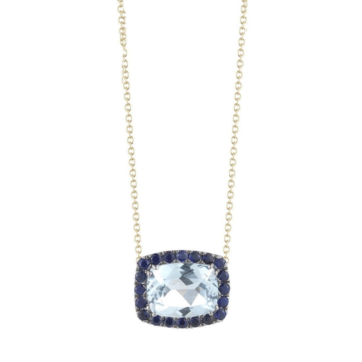 "A & Furst ""Dynamite"" Pendant Necklace with Blue Topaz and Blue Sapphires, 18kYellow Gold and Black Rhodium."