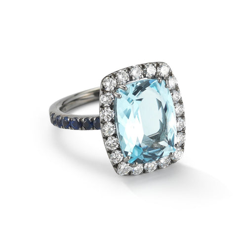 A & Furst - Dynamite - Cocktail Ring with Blue Topaz, Diamonds and Blue Sapphires, 18k Blackened Gold.