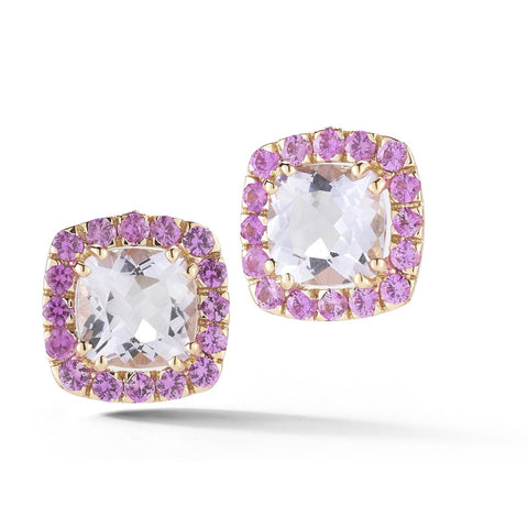 "A & Furst ""Dynamite"" Stud Earrings with Rose de France and Pink Sapphires, 18k Rose Gold."
