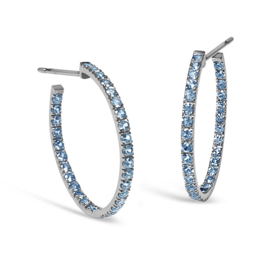 "A & Furst ""France"" Hoop Earrings with Blue Topaz inside-out, French-set, 18k Blackened Gold."