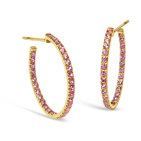 "A & Furst ""France"" Hoop Earrings with Pink Sapphires inside-out, French-set, 18k Rose Gold."