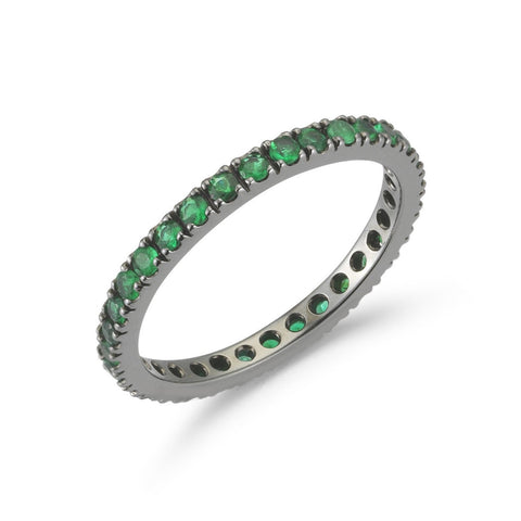 "A & Furst ""France"" Eternity Band Ring with Emeralds all around, French-set, 18k Blackened Gold."