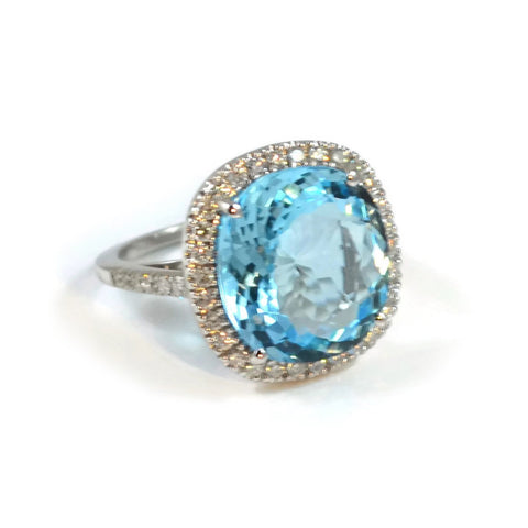 "A & Furst ""Le Grand Magnifique"" Ring with Blue Topaz and Diamonds, 18k White Gold."