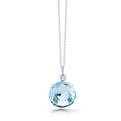 "A & Furst "" Lilies"" Pendant with Blue Topaz and Diamonds, 18k White Gold."