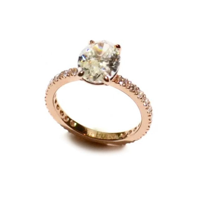 "A & Furst ""France"" Mounting Ring with French Setting White Diamonds, 18k Rose Gold."