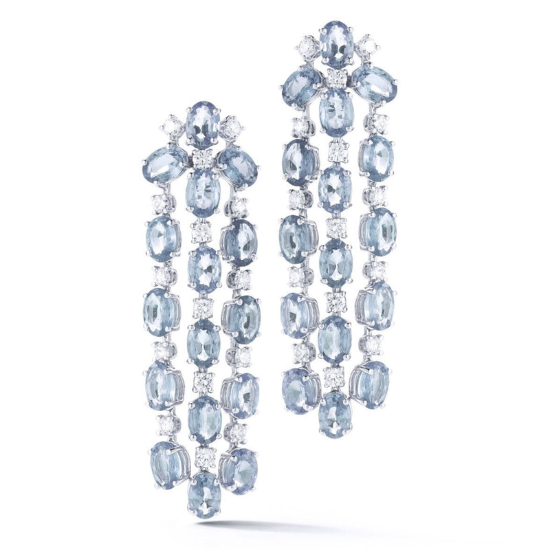 "A & Furst ""Nightlife"" Chandelier Earrings with Aquamarine and Diamonds, 18k White Gold."