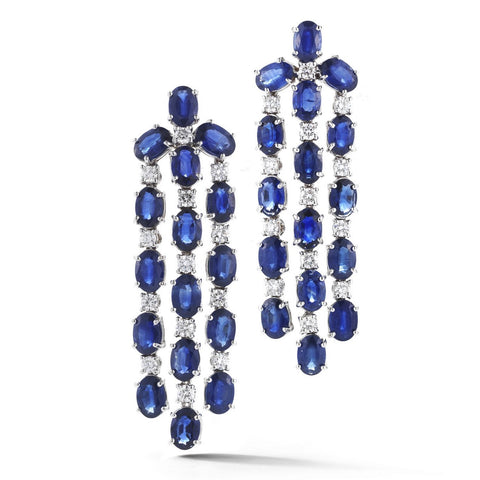 "A & Furst ""Nightlife"" Chandelier Earrings with Blue Sapphires and Diamonds, 18k White Gold."