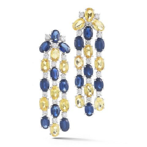 "A & Furst ""Nightlife"" Chandelier Earrings with Blue, Yellow Sapphires and Diamonds, 18k White Gold."