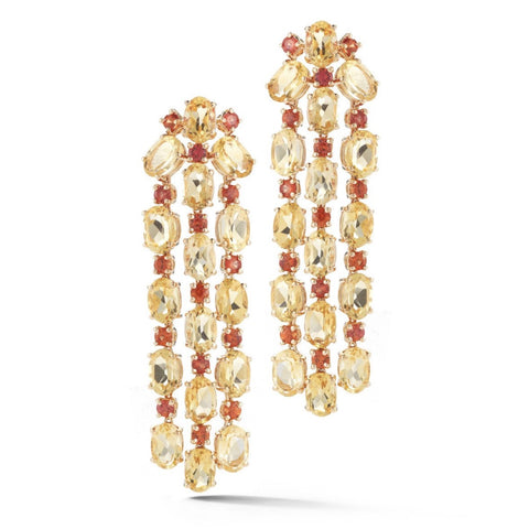 "A & Furst ""Nightlife"" Chandelier Earrings with Citrine and Orange Sapphires, 18k Rose Gold."