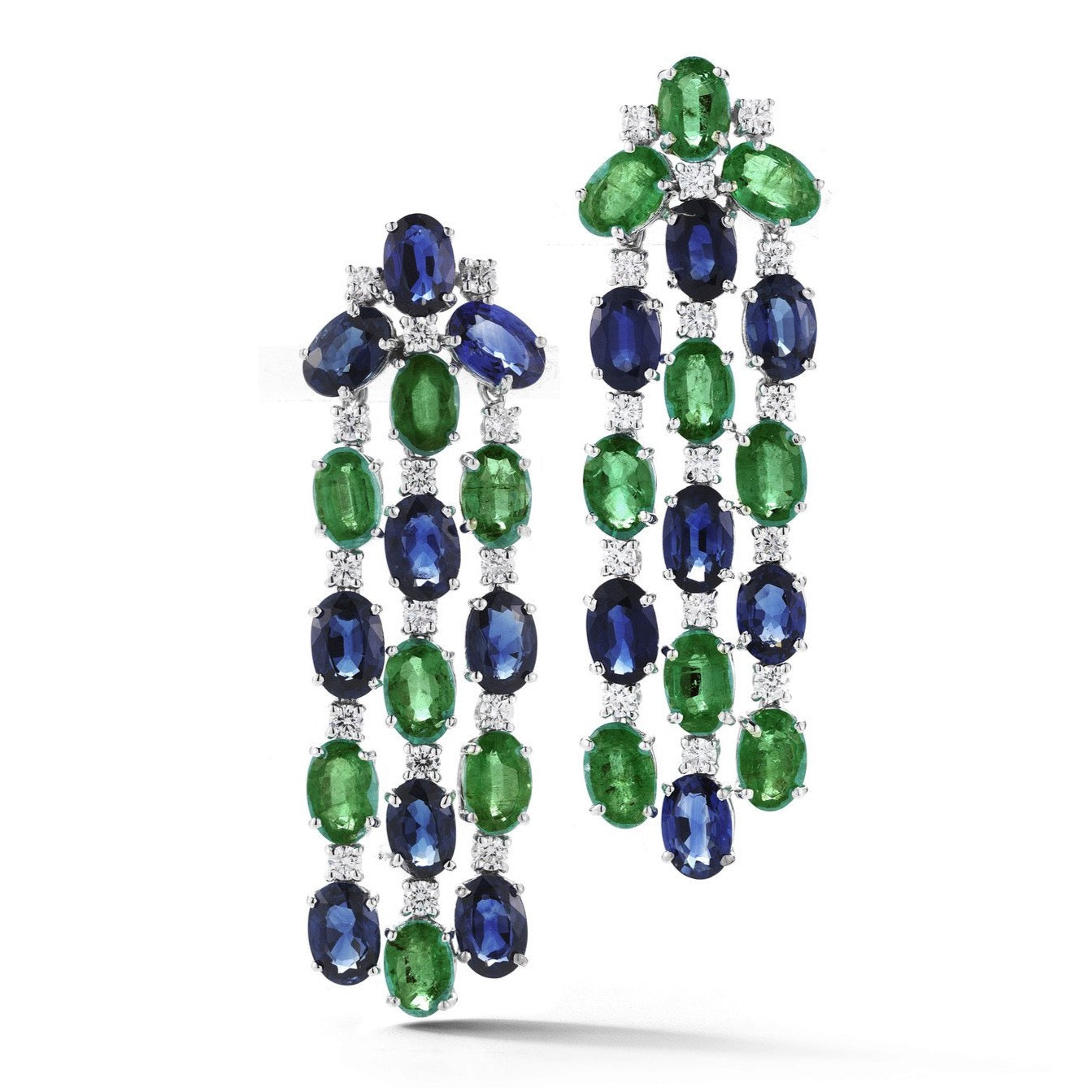 "A & Furst ""Nightlife"" Chandelier Earrings with Emeralds, Sapphires and Diamonds, 18k White Gold."