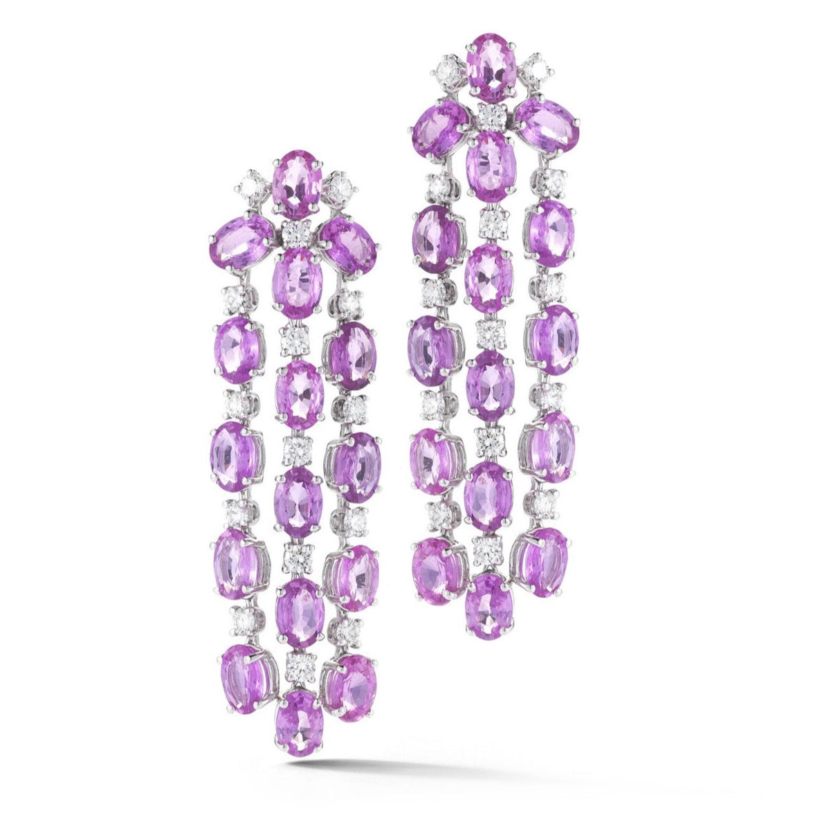 "A & Furst ""Nightlife"" Chandelier Earrings with Pink Sapphires and Diamonds, 18k White Gold."
