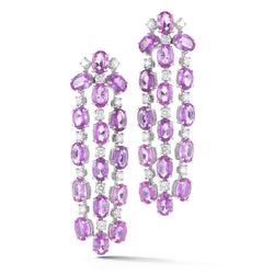 A & Furst - Nightlife - Chandelier Earrings with Pink Sapphires and Diamonds, 18k White Gold