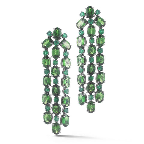 "A & Furst ""Nightlife"" Chandelier Earrings with Tsavorite and Emeralds, 18k Blackened Gold."