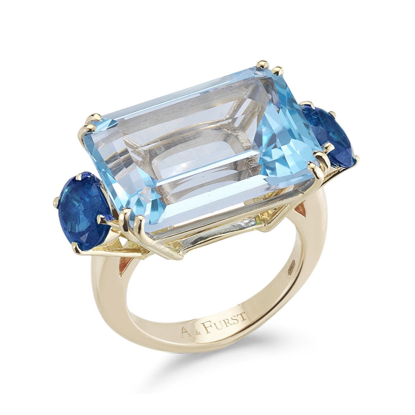 "A & Furst ""Party"" Cocktail Ring with Blue Topaz and Blue Sapphires, 18k Yellow Gold."