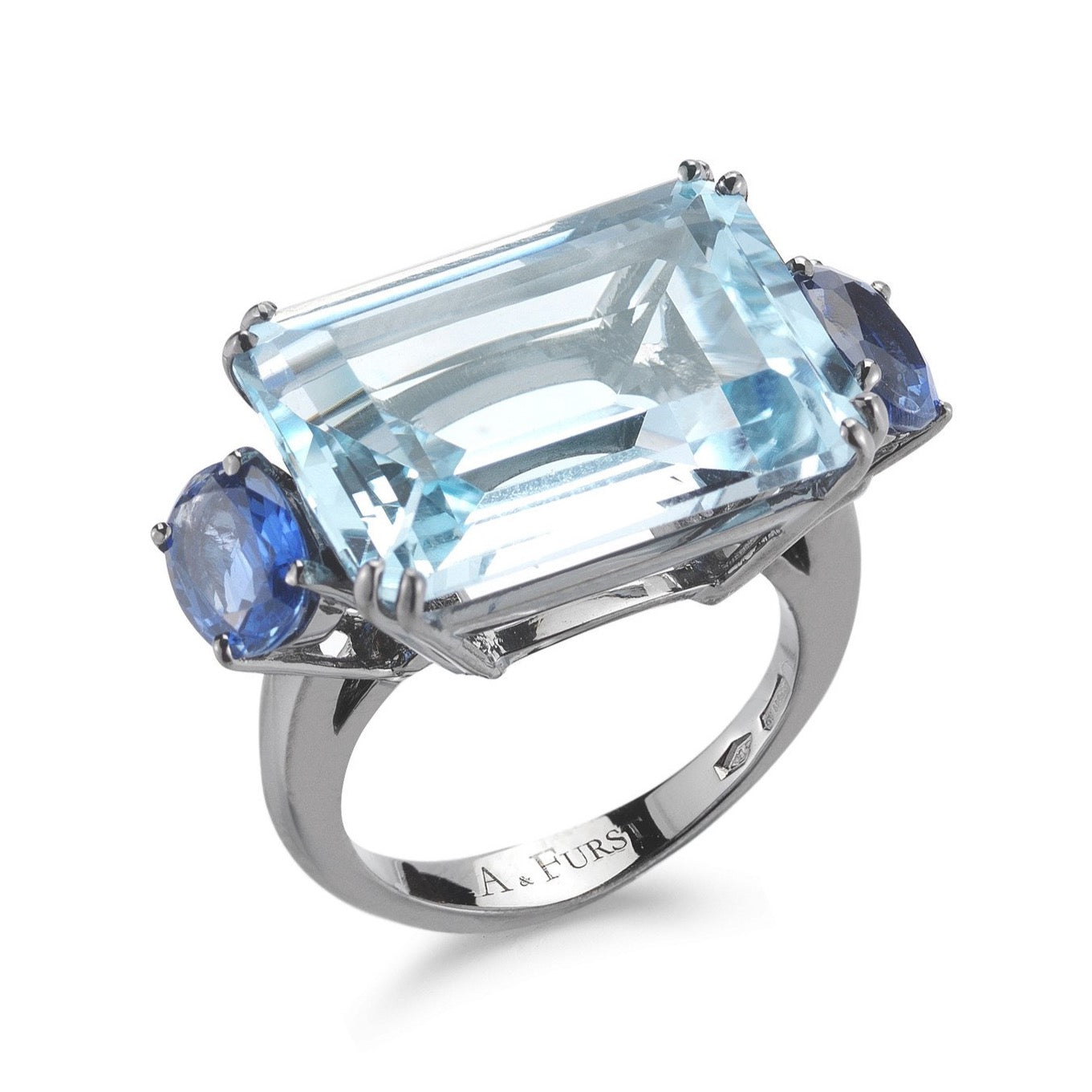 "A & Furst ""Party"" Cocktail Ring with Blue Topaz and Kyanite, 18k Blackened Gold."