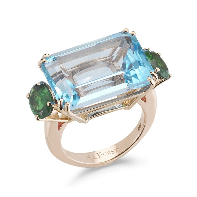 A & Furst - Party - Cocktail Ring with Blue Topaz and Tsavorite Garnet, 18k Rose Gold