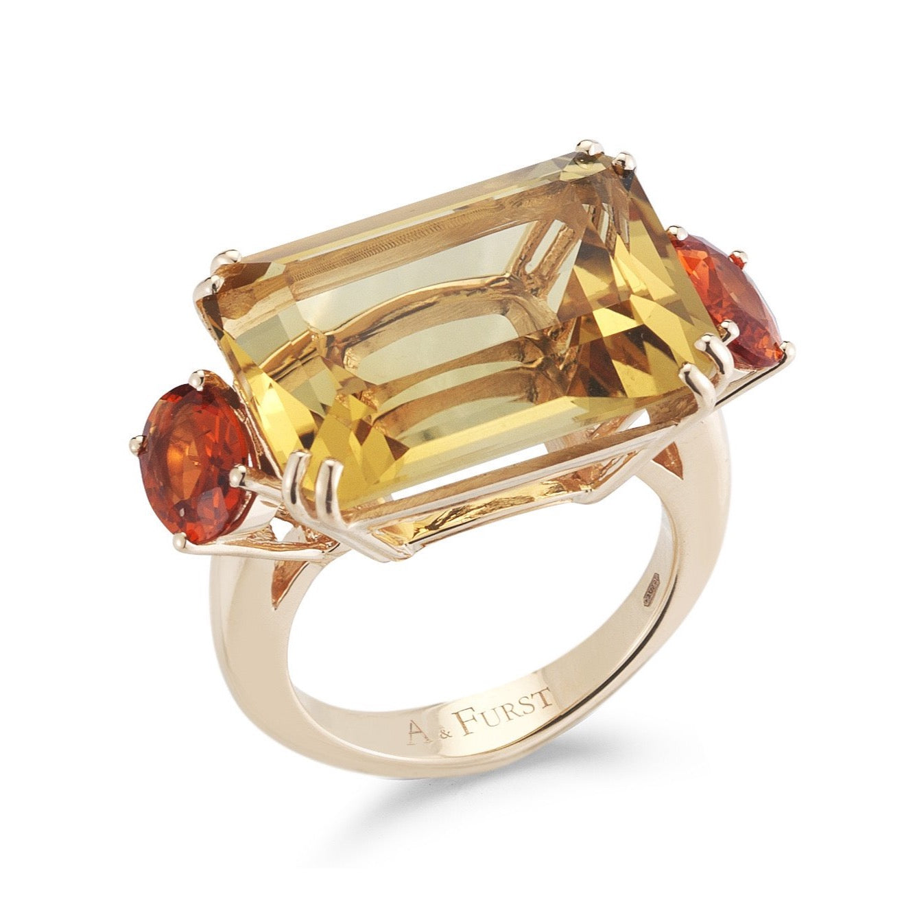 "A & Furst ""Party"" Cocktail Ring with Citrine and Orange Sapphires, 18k Rose Gold."