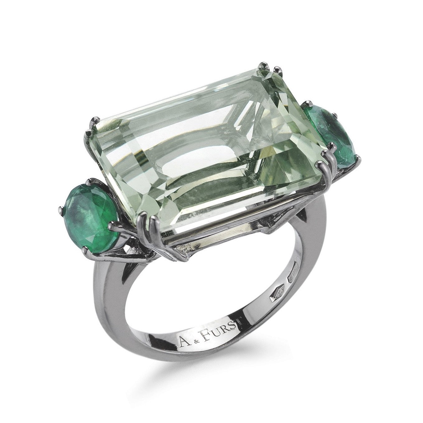 A & Furst - Party - Cocktail Ring with Prasiolite and Emeralds, 18k Blackened Gold.