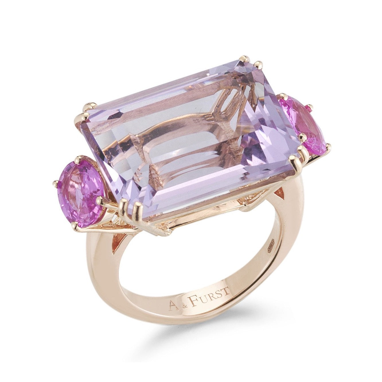 "A & Furst ""Party"" Cocktail Ring with Rose de France and Pink Sapphires,18k Rose Gold."